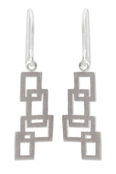 Sterling silver dangle earrings, 'Open Windows' - Artisan Crafted Silver Earrings