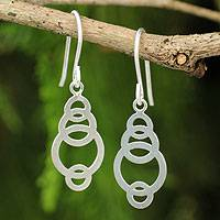 Sterling silver dangle earrings, 'Circle Dance' - Artisan Crafted Silver Geometric Earrings