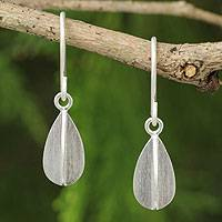Sterling silver dangle earrings, 'Quartered Leaf' - Thai Silver Earrings