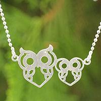 Sterling silver pendant necklace, 'Perky Owls' - Sterling Silver Double Owl Pendant Necklace