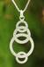 Sterling silver pendant necklace, 'Circle Dance' - Artisan Crafted Silver Geometric Necklace thumbail
