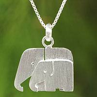 Sterling silver pendant necklace, 'Side by Side' - Sterling Silver Elephant Necklace from Thailand
