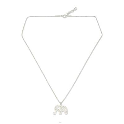 Sterling silver pendant necklace, 'Elephant Arabesque' - Handcrafted Sterling Silver Thai Elephant Necklace
