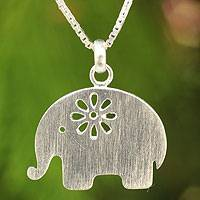 Sterling silver pendant necklace, 'Daisy Elephant'