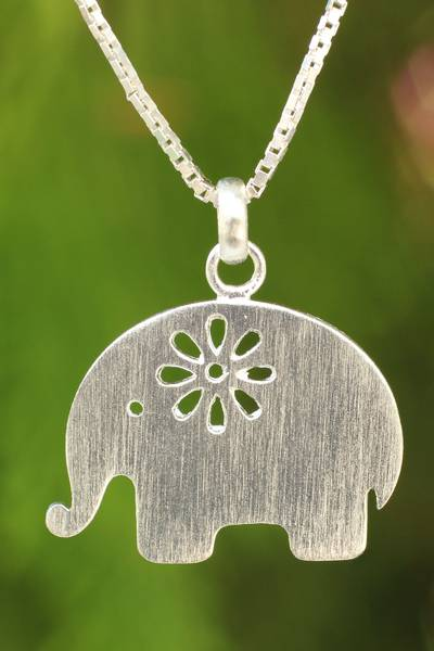 Sterling silver pendant necklace, 'Daisy Elephant' - Brushed Silver Thai Elephant Necklace