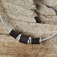 Sterling silver and wood pendant necklace, 'Love of Nature' - Thai Silver Necklace with Dark Wood Insets
