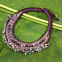 Amethyst and labradorite choker, 'Lilac Bower' - Thai Hand Crocheted Amethyst and Labradorite Choker
