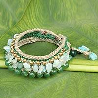 Amazonite wristband bracelet, 'Green Dreams' - Crocheted Wristband Bracelet with Multi Gemstone Jewelry