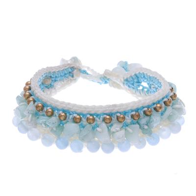 Amazonite Crocheted Wristband Bracelet Artisan Jewelry