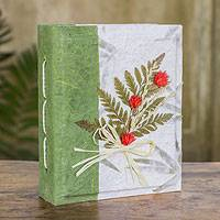 Saa paper photo album, 'Our Summer' - Artisan Crafted Green Thai Saa Paper Floral Photo Album