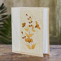 Saa paper photo album, 'Nature Memories' - Artisan Crafted Beige Thai Saa Paper Floral Photo Album