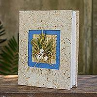 Saa paper photo album, 'Blue Bouquet' - Artisan Crafted Blue and Beige Saa Paper Photo Album