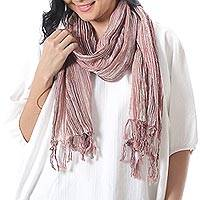 Cotton batik scarf, 'Ginger Paths' - Orange and White Cotton Batik Scarf