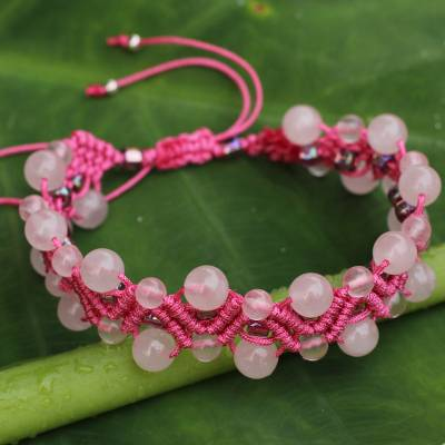 Rose quartz wristband bracelet, 'Waves' - Artisan Crafted Rose Quartz Wristband Bracelet