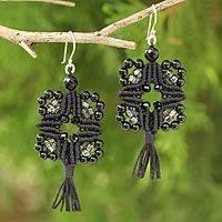 Onyx cross earrings, 'Chiang Mai Goth' - Artisan Crafted Onyx Macrame Earrings