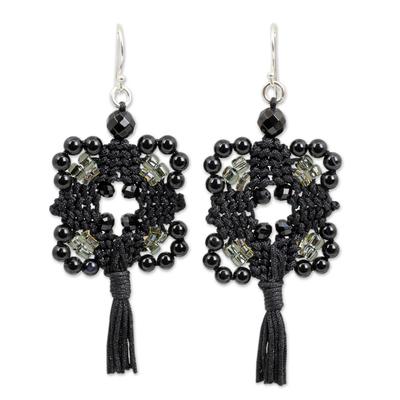 Artisan Crafted Onyx Macrame Earrings