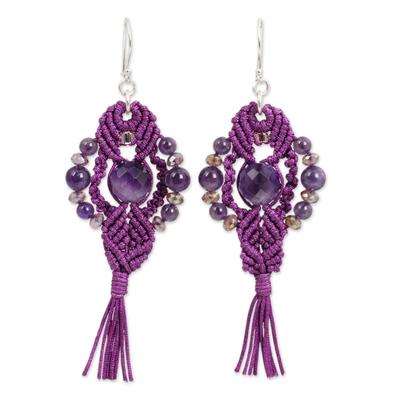 Amethyst dangle earrings, 'Purple Majesty' - Crocheted Amethyst Earrings Artisan Crafted Jewelry