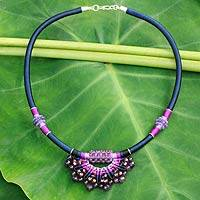 Amethyst collar necklace, 'Star of Nan' - Handcrafted Amethyst Crocheted Designer Necklace