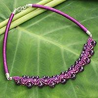 Amethyst collar necklace, 'Let's Dance' - Handcrafted Amethyst Necklace