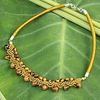 Tiger's eye collar necklace, 'Let's Dance' - Handcrafted Tigre's Eye Macrame Necklace