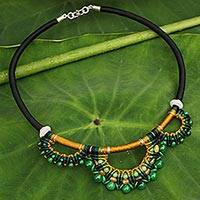 Jade collar necklace, 'Goddess'