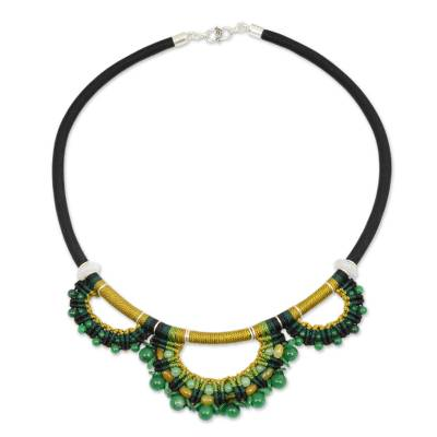 Jade collar necklace, 'Goddess' - Handcrafted Jade Macrame Necklace