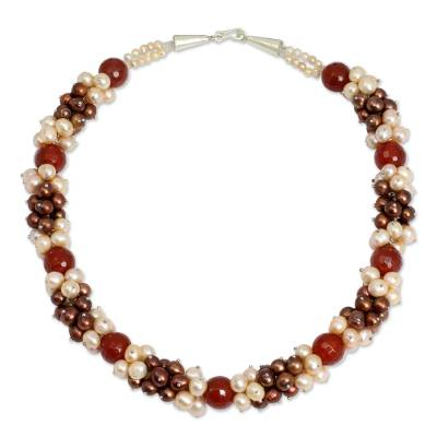 Brown and Peach Pearls with Orange Chalcedony Necklace