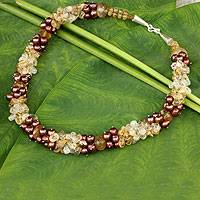 Cultured pearl and citrine beaded necklace, 'Divine Feminine' - Brown Pearls and Citrine Handcrafted Necklace