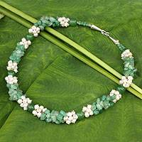Cultured pearl beaded necklace, 'Divine Feminine' - Pearl and Green Quartz Handcrafted Necklace