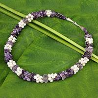 Cultured pearl and amethyst beaded necklace, 'Divine Feminine' - White Pearl and Amethyst Beaded Necklace