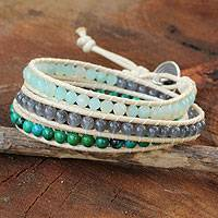 Amazonite wrap bracelet, 'Beautiful Day' - Thai Hand Knotted Amazonite and Quartz Wrap Bracelet