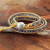 Quartz wrap bracelet, 'Subtle Sigh' - Thai Hand Knotted Quartz Wrap Bracelet