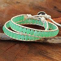 Quartz wrap bracelet, 'Verdant Breeze' - Thai Hand Knotted Green Quartz Wrap Bracelet