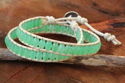 Quartz wrap bracelet, 'Verdant Breeze' - Thai Hand Knotted Green Quartz Wrap Bracelet