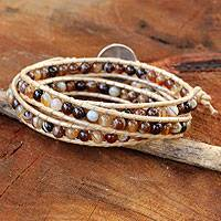 Agate wrap bracelet, 'Natural Warmth' - Thai Hand Knotted Agate Wrap Bracelet