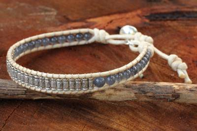 Silver wristband bracelet, 'Memorable' - Hand Crafted Thai Hill Tribe Silver Smoky Quartz Bracelet