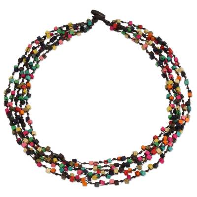 Wood torsade necklace, 'Petchaburi Belle' - Artisan Crafted Multicolor Wood Beaded Torsade Necklace