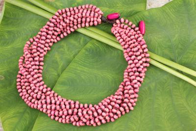 Wood torsade necklace, 'Kok Belle' - Pastel Pink Torsade Necklace Wood Beaded Jewelry