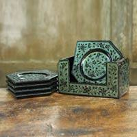 Lacquered wood coasters, 'Jade Fantasy' (set of 6) - Handcrafted Lacquered Wood Coasters and Holder (set of 6)