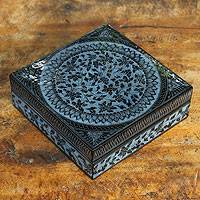 Lacquered wood box, 'Floral Thai'