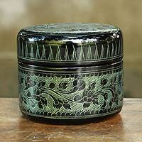 Lacquered wood box, 'Exotic Green Flora' - Handcrafted Lacquered Wood Round Decorative Box