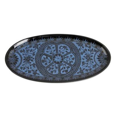 Blue on Black Lacquered Catchall Tray