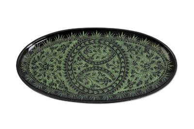 Green on Black Lacquered Catchall Tray