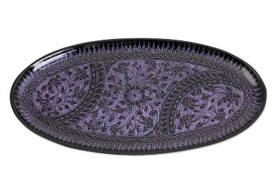 Purple on Black Lacquered Wood Catchall Tray