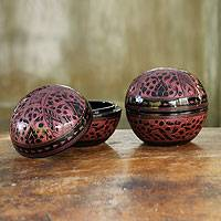 Lacquered wood boxes, 'Pink Wildflowers' (pair) - Handcrafted Lacquered Wood Round Decorative Boxes (Pair)