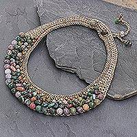 Jasper and serpentine choker, 'Sweet Earth' - Thai Artisan Crafted Crocheted Jasper and Serpentine Choker