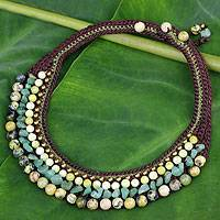 Jasper and serpentine choker, 'Cool Beauty' - Thai Hand Crocheted Jasper and Serpentine Choker