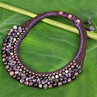 Charoite and amethyst choker, 'Orchid Bower' - Thai Hand Crocheted Charoite Amethyst and Aventurine Choker
