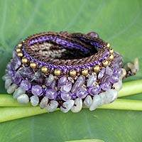 Amethyst and labradorite wristband bracelet, 'Orchid Bower' - Thai Artisan Crafted Crocheted Amethyst Labradorite Bracelet