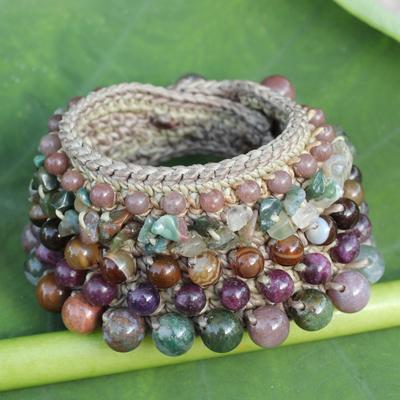 Jasper and agate wristband bracelet, 'Enchanting Color' - Thai Artisan Crafted Crocheted Jasper Agate Quartz Bracelet